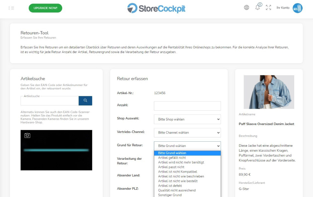 StoreCockpit Retouren Modul